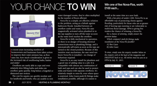 Nova-Flo team up with Heating & Plumbing Monthly to give you a chance to Win!
